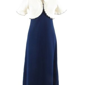 Blue short sleeve vintage maxi dress M